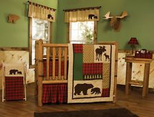 Northwoods Baby Bedding Crib Set 4PC Rustic Cabin Country Bear Moose Flannel NEW