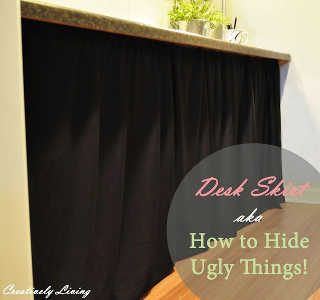 DIY Desk Skirt...aka...How to Hide Ugly Things! - Creatively Living Blog