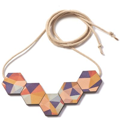 Printed Wooden Fractal Necklace - Autumn. By Polli.