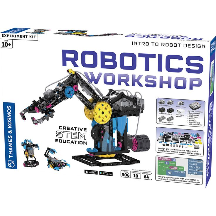 Robotics Workshop and thousands more of the very best toys at Fat Brain Toys. Using sensors, motors, a core controller, hundreds of snap-together parts, and a detailed 96-page instruction manual, kids get to assemble 12 astonishing robots, and even invent all kinds of their own!