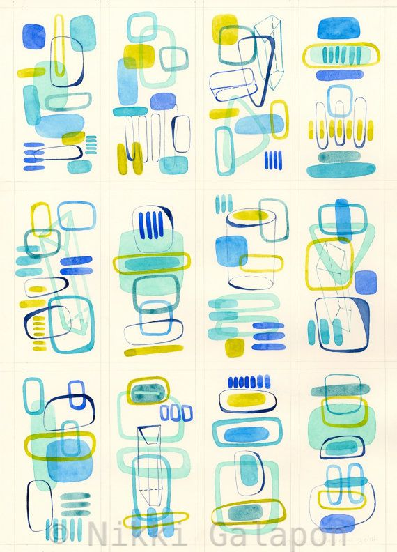 Four by Three Number One Original Watercolor by NikkiGalapon