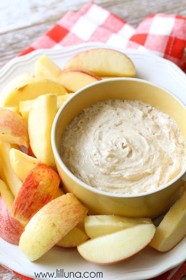 Delicious Fluffy Caramel Apple Dip recipe on { lilluna.com }