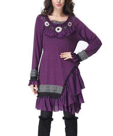 Loving this Purple Asymmetrical Ruffle Peasant Tunic on #zulily! #zulilyfinds