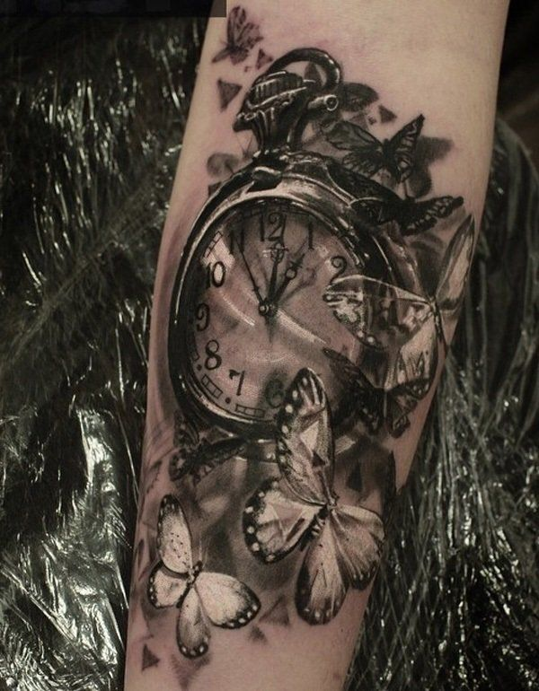 Watch and butterfly tattoo - 100 Awesome Watch Tattoo Designs