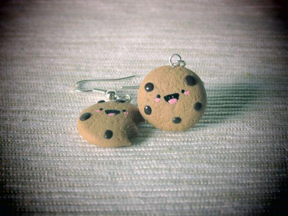 Happy Chocolate Chip Cookies  Kawaii Cookies by HappyBeeLab, €7.50