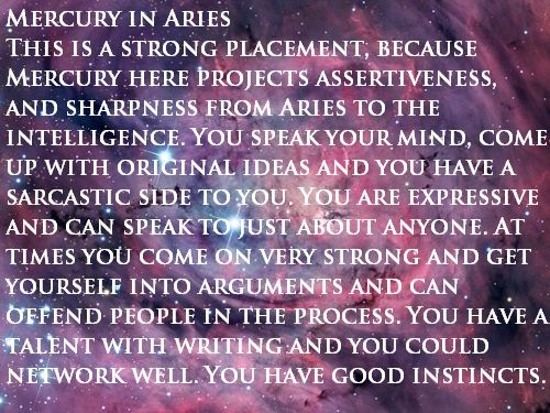 Mercury in Aries   #Zodiac #Astrology For related posts, please check out my FB page:  https://www.facebook.com/TheZodiacZone