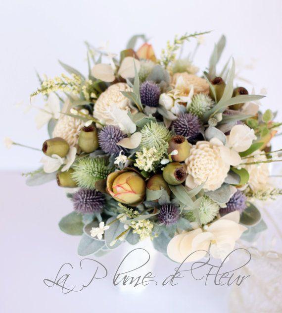 Tamborine - Country chic wedding bouquet. Thistle, sola flowers, wildflowers, gumnuts and Australian native foliage.