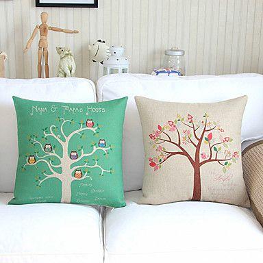Juego de 2 árboles Vibrant Algodón / Lino almohada cubierta decorativa – EUR € 24.74