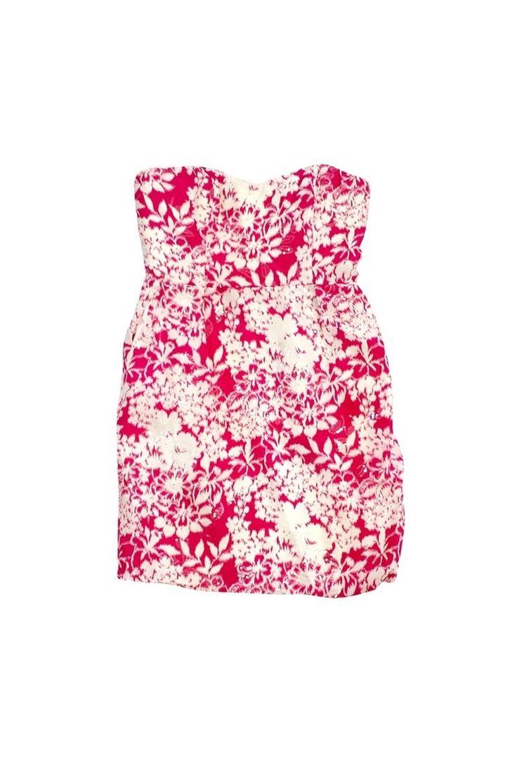 Badgley Mischka- Pink & Cream Strapless Sequin Dress Sz 6 | Current Boutique