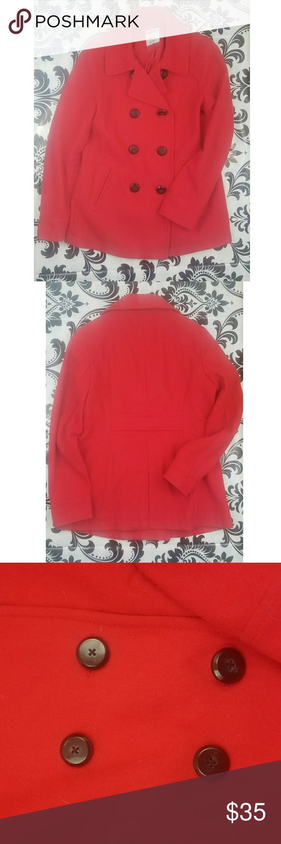 Old navy pea coat Women's old navy pea coat True red color Pre Owned  good condition  Has been worn  Women's Size xsmall Old Navy Jackets & Coats Pea Coats
