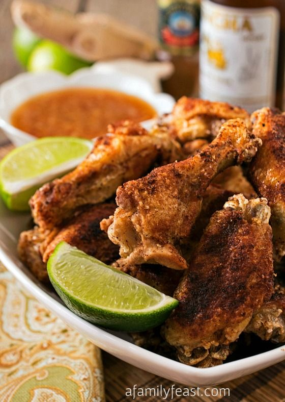 Crispy Asian Chicken Wings with Ginger-Lime Dipping Sauce - The combination of these Asian spiced wings and the dipping sauce is fantastic!