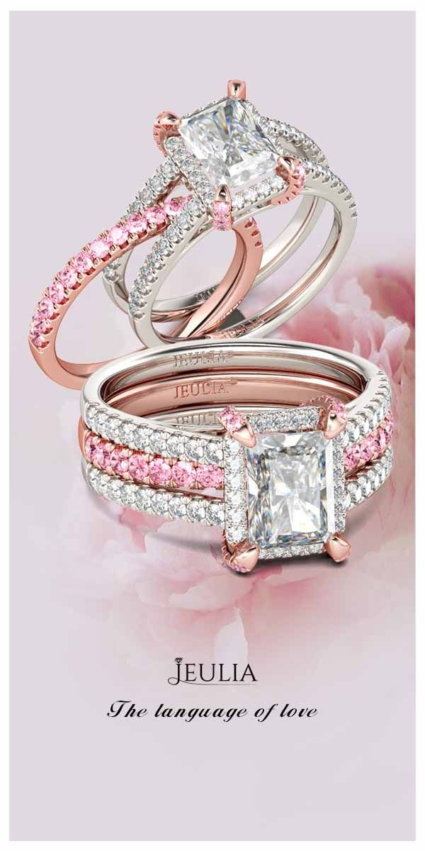 Jeulia Interchangeable Two Tone Radiant Cut Created White Sapphire Wedding Set. To Color Your Life With Pink!#Jeulia