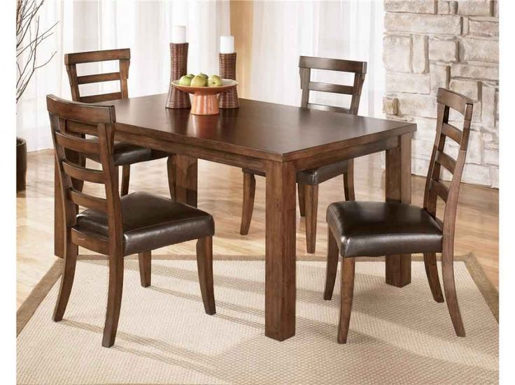 leather and wood dining chairs - Rustic Dining Set