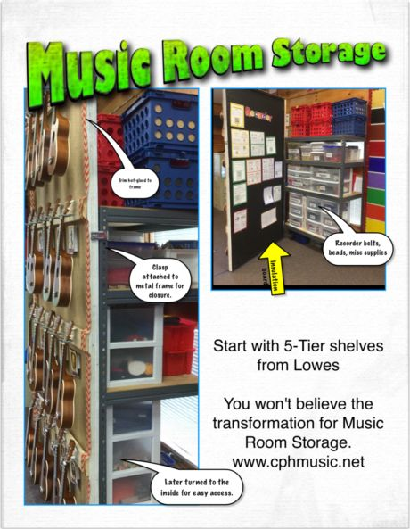 Music Room Storage Turn storage shelves into teachable spaces.