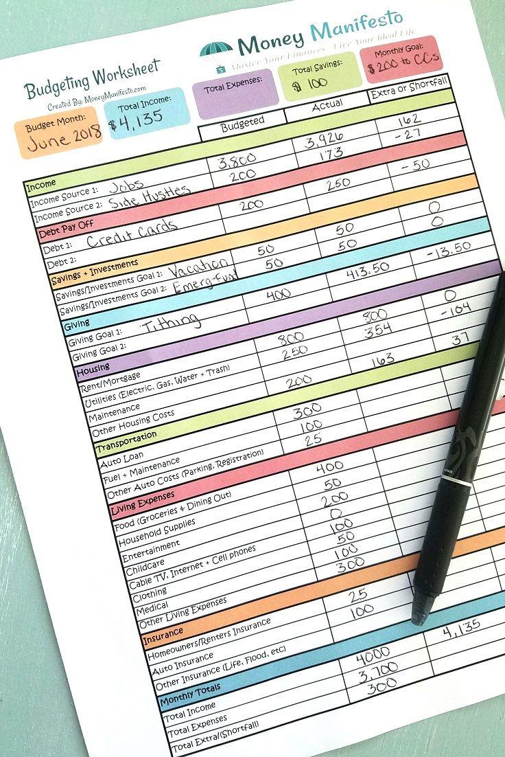 Free Budgeting Worksheet Printable