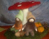 Autumn elves, Needle felted wool, Handmade, Kids room decor, Waldorf inspired.