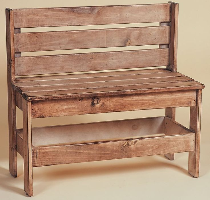 Amish Pine Entryway Bench With Back