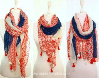 #scarf #scarves #navy #red #tassel #escherpe #women #fashion #accessories