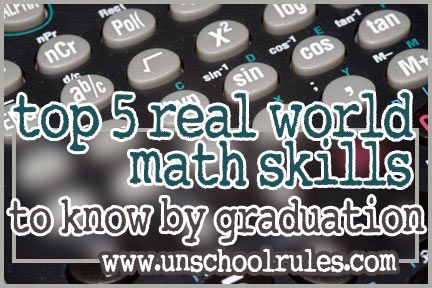 Worried about homeschooling math? Check out the top 5 real world math skills a well-rounded person should have, mathematically speaking, before graduating.