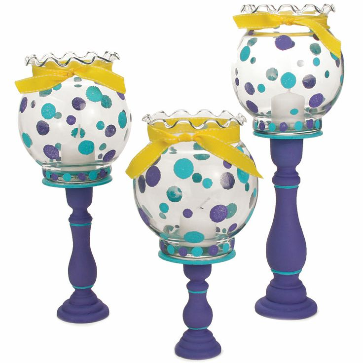 Nicole™ Crafts Polka Dot Bowl Candlestick Trio  #paint #craft
