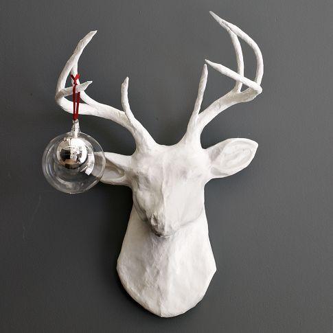 paper-mache  stagWestelm, Guest Room, Living Room, Paper Mache, Deer Head, White Christmas, Papier Mache, Animal Sculpture, West Elm