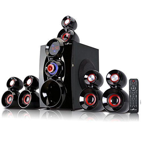 beFree Sound BFS-600, 5.1 Channel Surround Sound Bluetooth Speaker System, Red