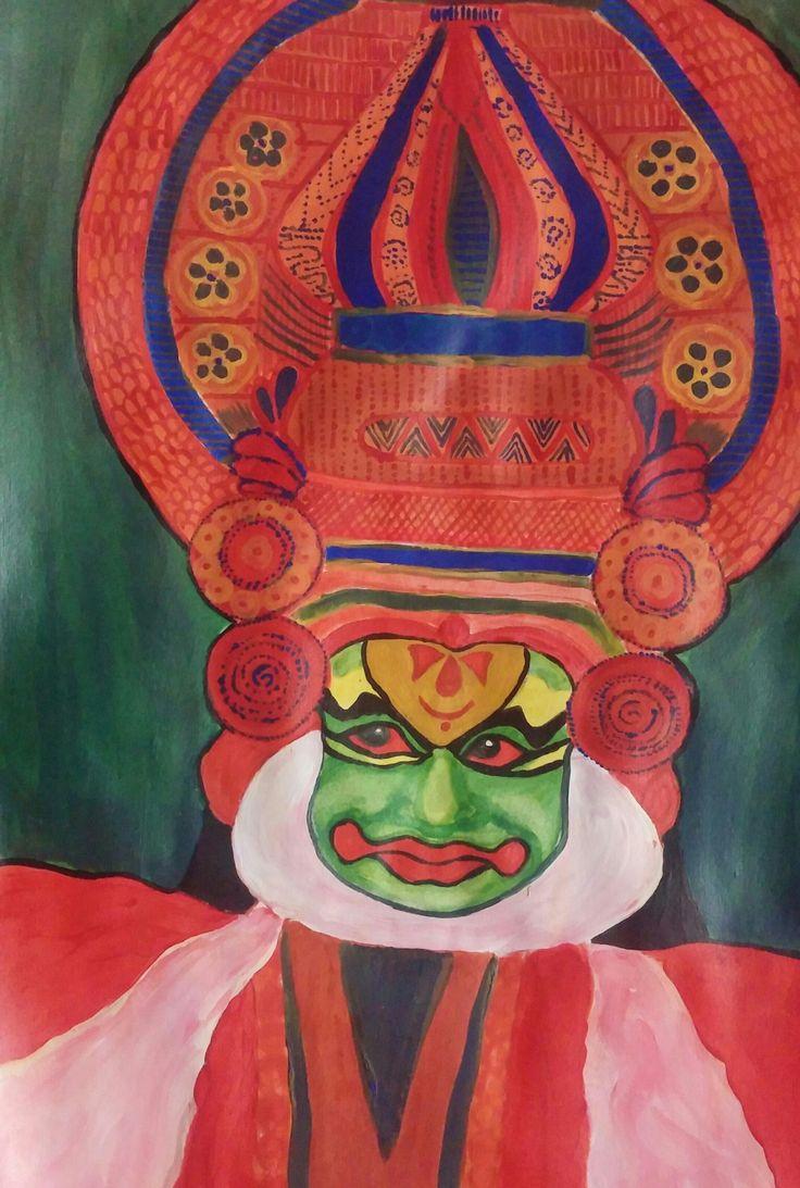 kathakali face, acrylics