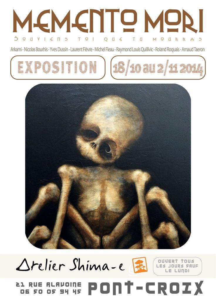 """EXPOSITION """"MEMENTO MORI"""" - 18 OCTOBRE AU 02 NOVEMBRE 2014 - L'Atelier des Possibles (Atelier Shima-e) présente :  ARKAMI NICOLAS BOURHIS YVES DUSSIN LAURENT FIÈVRE MICHEL FLEAU RAYMOND LOUIS QUILLIVIC ROLAND ROQUAIS ARNOO, Pont-Croix, Finistère."""