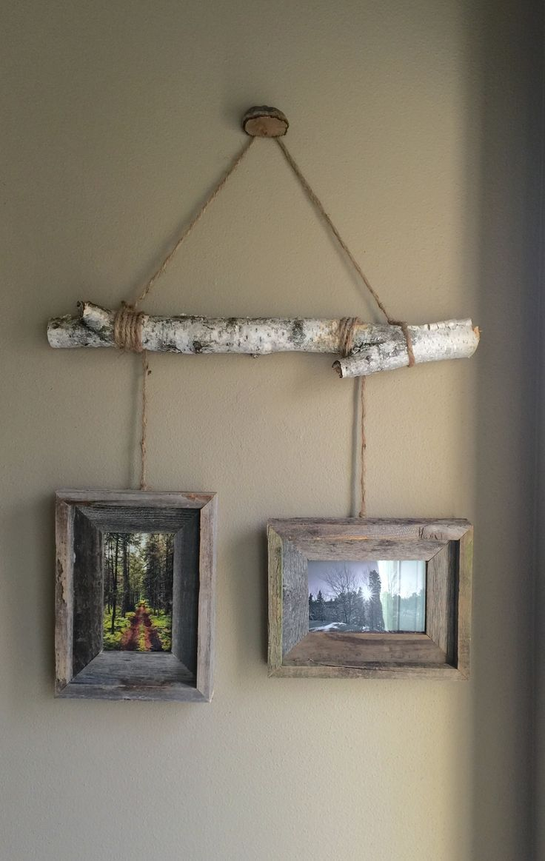 Birch Tree Limb picture hanger. … #WoodWorking