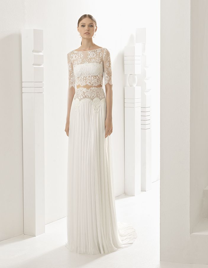 Nardo - Classic tailored dress with strapless silk garza underbodice, sheer embroidered tulle bodice and pleated silk garza skirt with dropped waist and hemstitch detail, in ivory.