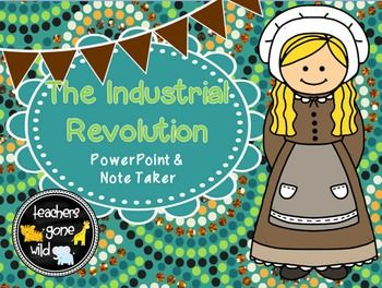 This product contains a 21 slide PowerPoint and corresponding note taker that teaches students all about the industrial revolution. It discusses the changes in manufacturing and changes in transportation. It goes through the history of Samuel Slater, Eli Whitney and the Cotton Gin, interchangeable parts, mass production, Francis Cabot Lowell, the horse-drawn reaper, John Deere and the steel plow, steamboats, canals, and railroads and the steam locomotive.
