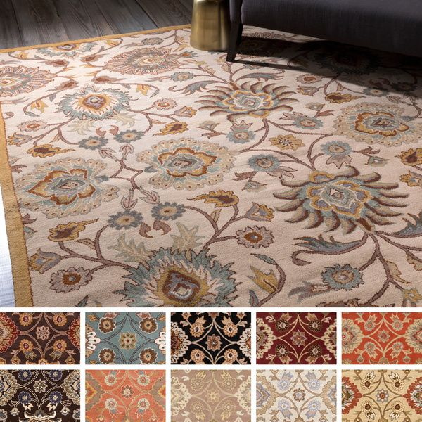 Bring Luxury To Your Home With This Traditional Area Rug Hand Tufted 100 Percent Wool Fl Designed Will Add A Pop Of Col