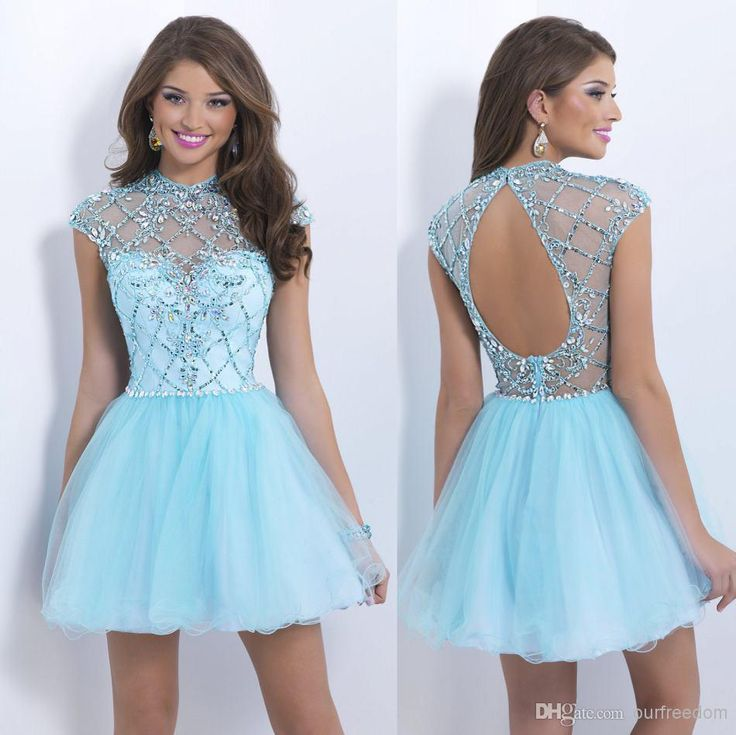Wholesale Homecoming Dresses - Buy 2014 New Charming Homecoming Dresses With Crew Beads Crystal Backless Cap Sleeve A Line Short Light Sky Blue Prom Party Cocktail Gowns, $90.95 | DHgate