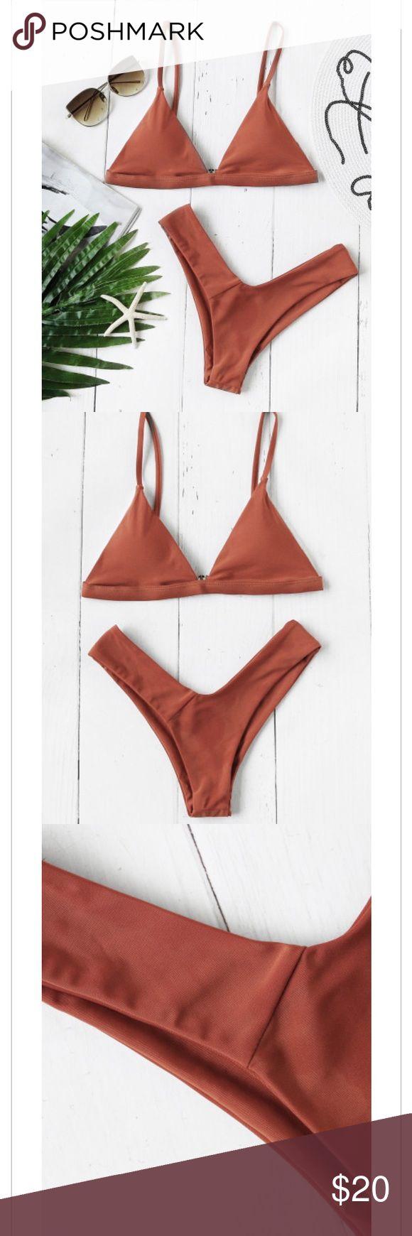 ROMWE burnt orange triangle bikini Size M. Cheeky bottoms. BRAND NEW!!!! ROMWE Swim Bikinis