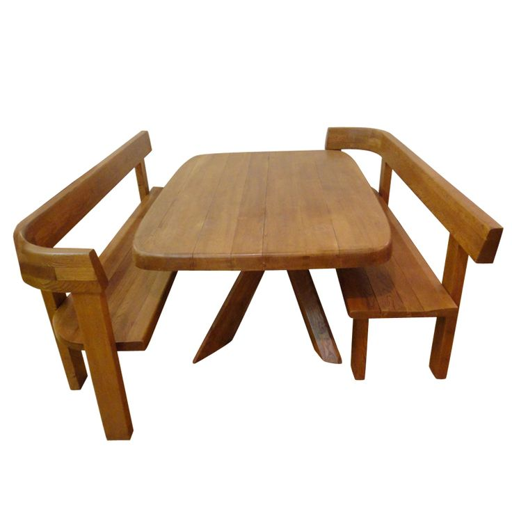 Pierre Chapo, Dining Table Set in Oak, 1965.