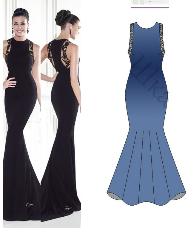 This Evening Dress Pattern is for a long dress with a high neck, mermaid cut and has some pretty lace details. It is a great pattern for a prom dress.