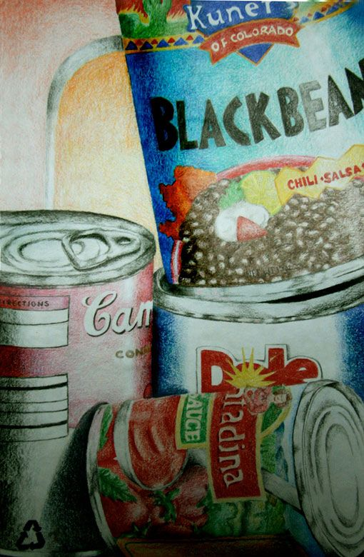 Stacked cans still life have students bing in can when for Arts and crafts for middle school