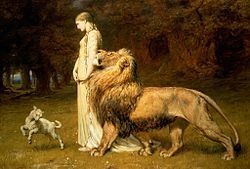 Painting of Una and the Lion by  Briton Rivière (1840–1920). Based on Faerie Queene by Edmond Spencer.