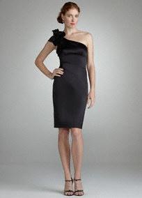 bridesmaid: David Bridal, Rosette Details, Davids Bridal, 3D Rosette, One Shoulder Dresses, Shoulder Black, Bridesmaid Dresses, Details Style, Little Black Dresses