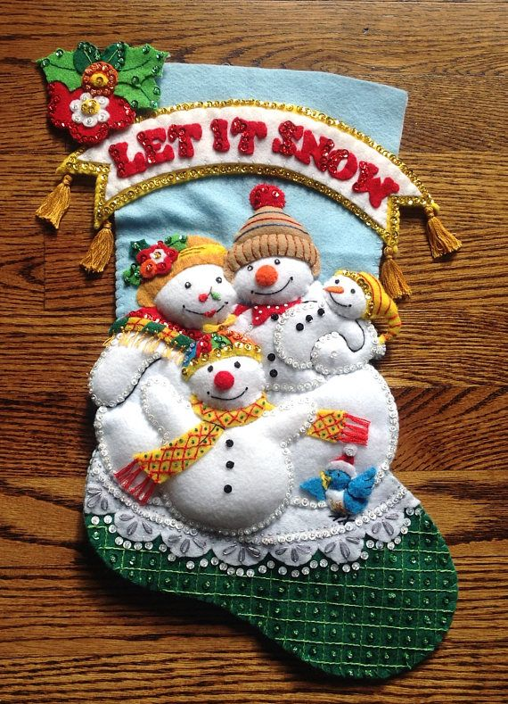 Completed Bucilla Christmas Stocking Let it Snow
