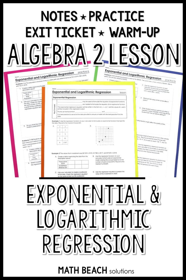 Exponential And Logarithmic Regression Lesson Algebra 2 Algebra Lesson Plans Algebra Lessons Exponential [ 1104 x 736 Pixel ]