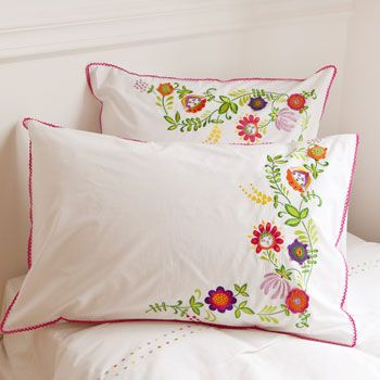 Floral Embroidered Pillow Cases and Duvet Cover