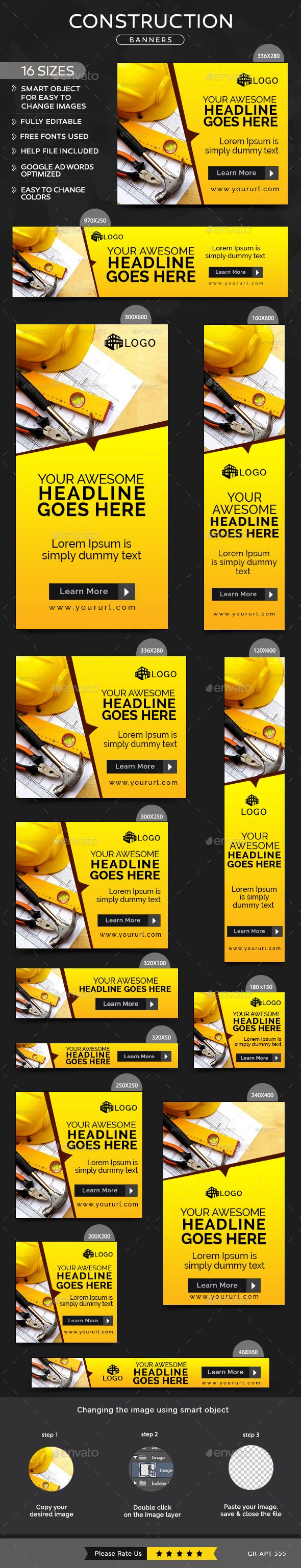 Construction Banners - Banners & Ads Web Elements