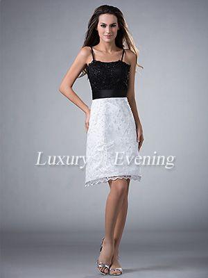 Black White Sheath Knee Length Lace Beaded With Straps Evening Dress - US$ 101.99 - Style E2087 - Luxury Evening