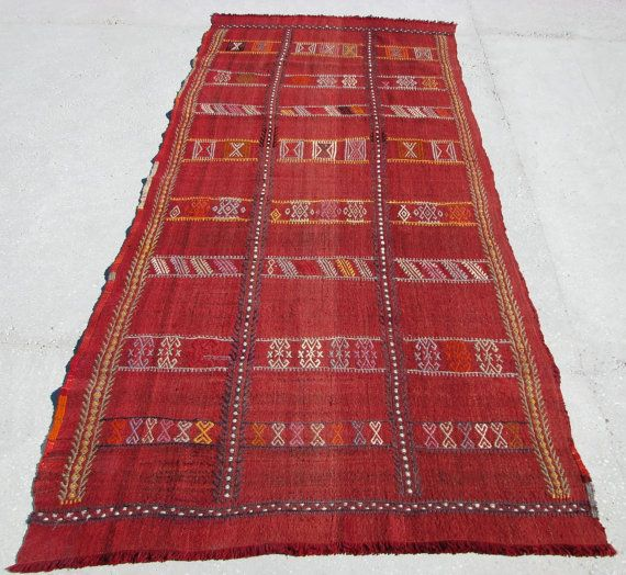Turkish Nomadic CicimEmbroidery Kilim Rug From by KilimAndCulture
