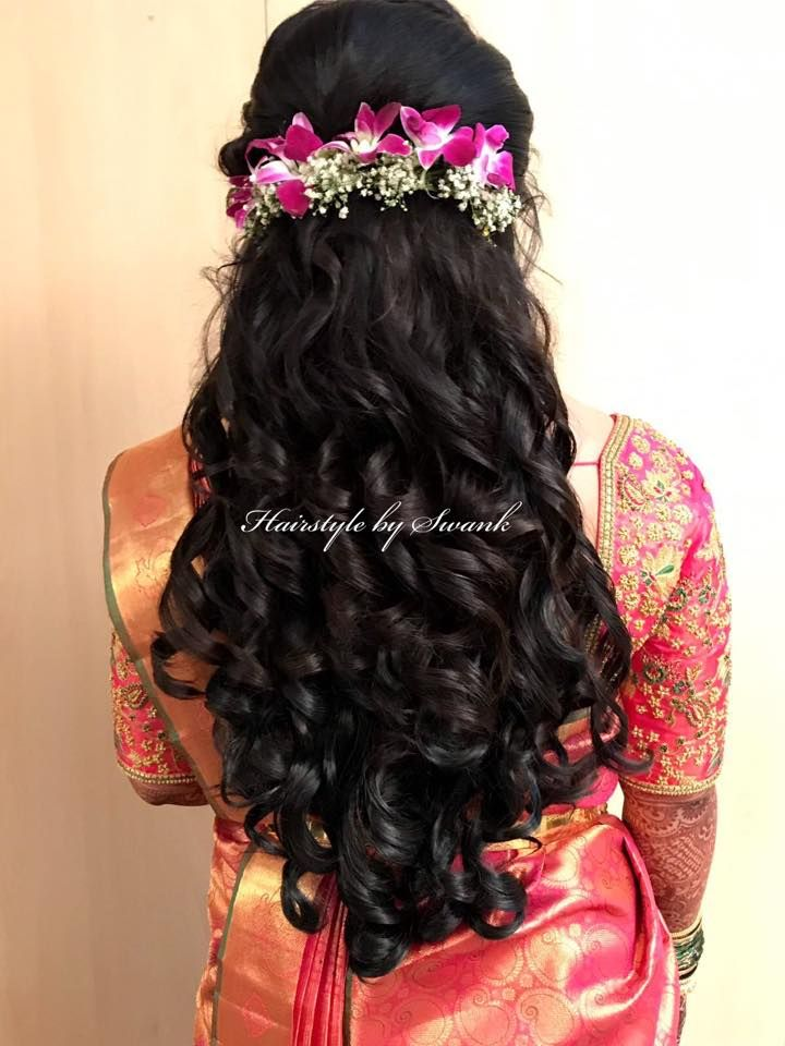Reception Hairstyle By Swank Big Curls Hairstyle With Fresh Orchids Bridal Hair Bridal Si Hair Styles Indian Bride Hairstyle Bridal Hairstyle Indian Wedding