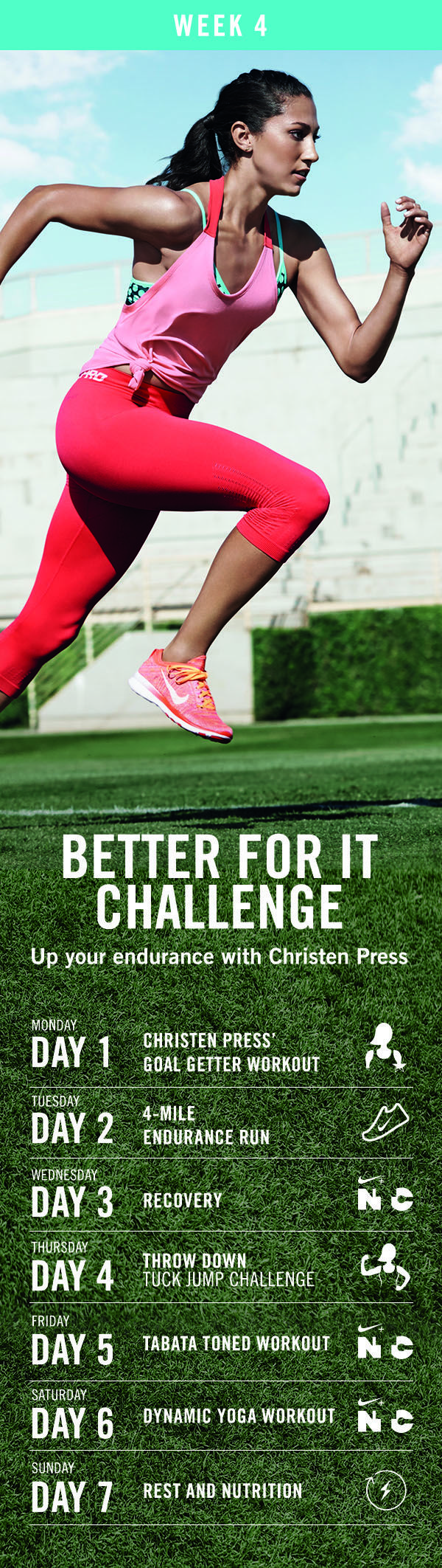 Finish April strong with week four's lineup of energizing workouts. The Nike+ Training Club 90-Day Better For It Challenge.
