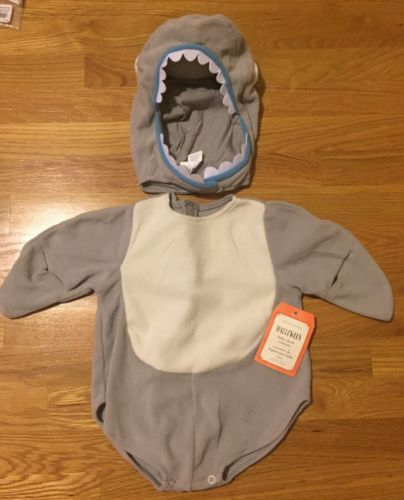 Halloween Costumes Kids: New Pottery Barn Kids Baby Shark Costume 0-6M Gray BUY IT NOW ONLY: $64.99