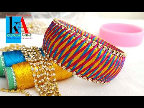 making silk thread bangles 3 Colour Weave Silk Thread Bangles / Bracelet / Kada Diamond Design - YouTube