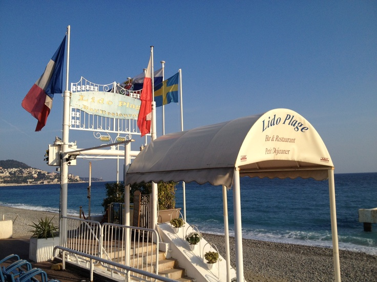 My favourite beach at Nice to drink a cold Perrier on a hot day